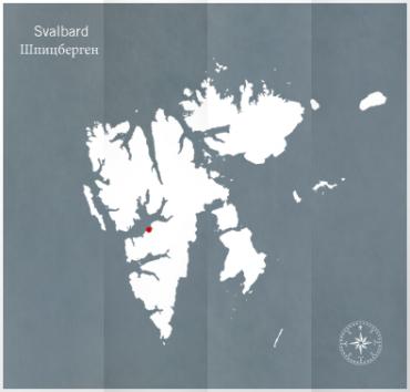 Carte du Svalbard et position de la ville de Longyerbyen